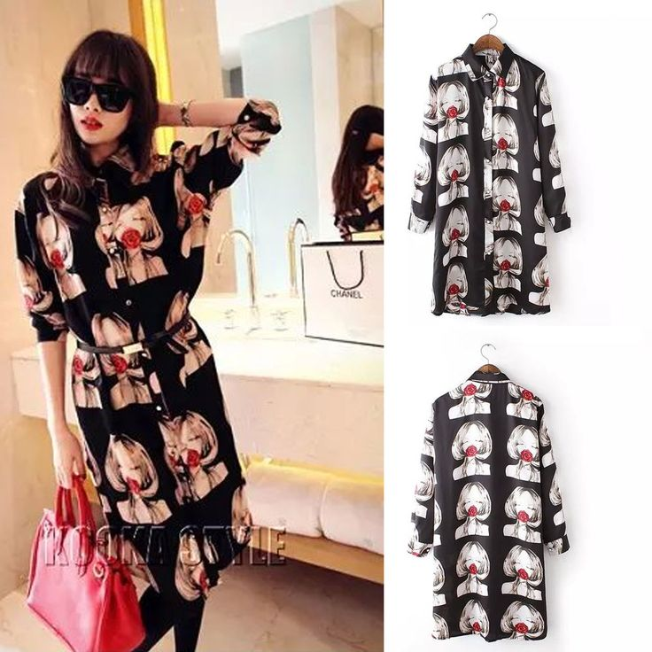 Women's Korean Fashion Printed Shirt Dress Evening Party Club Dresses Blouse Top #DL #ShirtDress #Cocktail