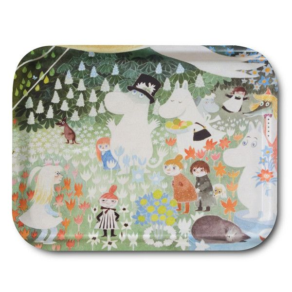 "Beautiful multicolored, handmade tray with a motif taken from Tove Jansson's original illustrations from the book ""Dangerous Journey"". Featuring the Moominfamil"