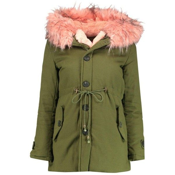 Boohoo Petite Felicity Faux Fur Trim Parka ($26) ❤ liked on Polyvore featuring outerwear, coats, faux fur trim puffer coat, longline duster coat, green duster coat, wrap coat and puffer coat