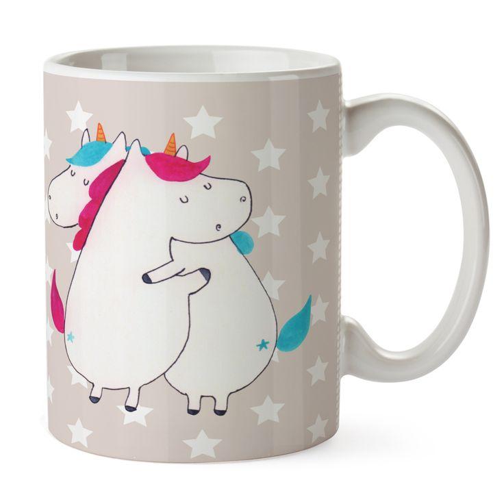 Tasse Einhörner Umarmen aus Keramik  Weiß - Das Original von Mr. & Mrs. Panda.  Eine wunderschöne spülmaschinenfeste Keramiktasse (bis zu 2000 Waschgänge!!!) aus dem Hause Mr. & Mrs. Panda, liebevoll verziert mit handentworfenen Sprüchen, Motiven und Zeichnungen. Unsere Tassen sind immer ein besonders liebevolles und einzigartiges Geschenk. Jede Tasse wird von Mrs. Panda entworfen und in liebevoller Arbeit in unserer Manufaktur in Norddeutschland gefertigt.     Über unser Motiv Einhörner…