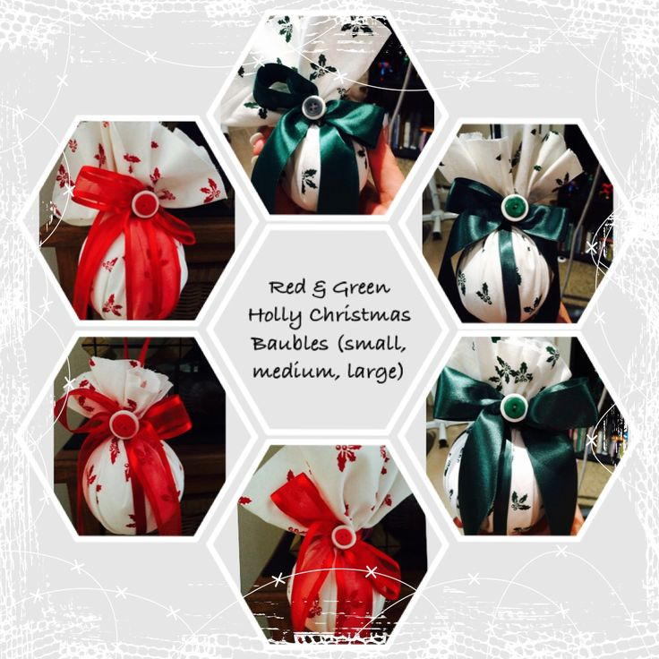 Red & Green Holly Christmas Baubles ( in small, medium & large)