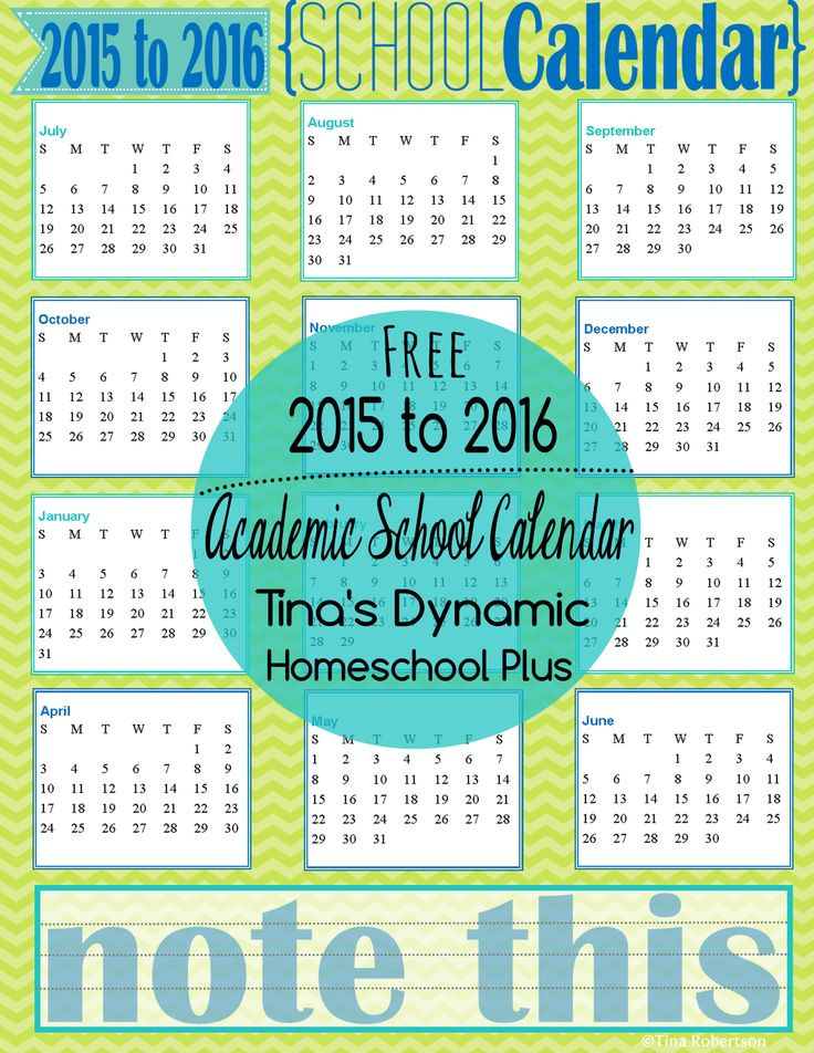 2015 - 2016 Limon Academic School Year Calendar @ Tina's Dynamic Homeschool Plus collage