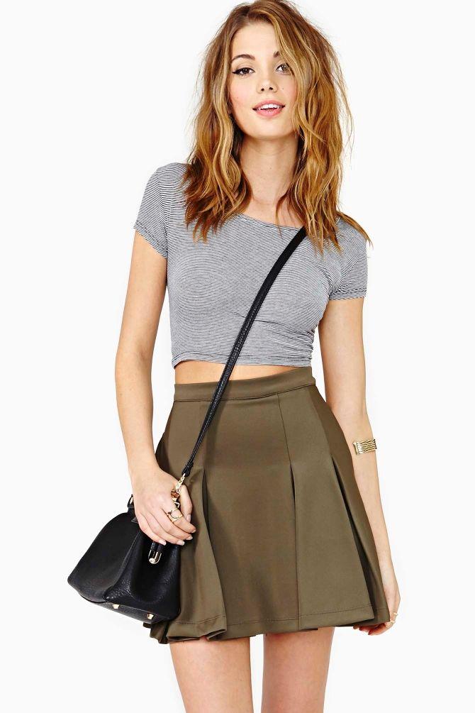 Sweet Stripe Crop Top/ Olive Skater Skirt / Nastygal