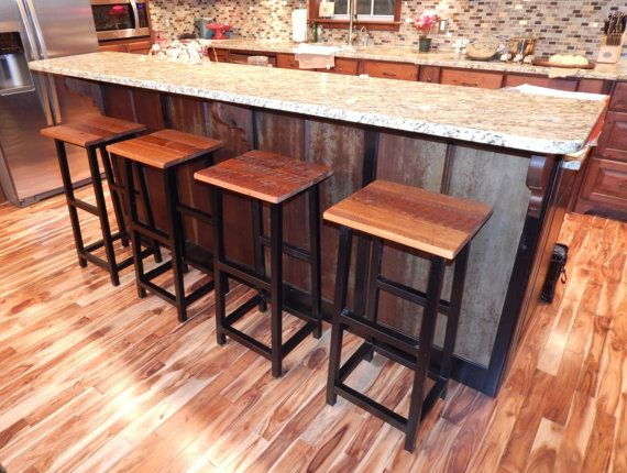 Rustic Barnwood Bar Stool with Wrought Iron Legs (Shown in Barn Natural finish) - Iron base and wood top is coated for protection and