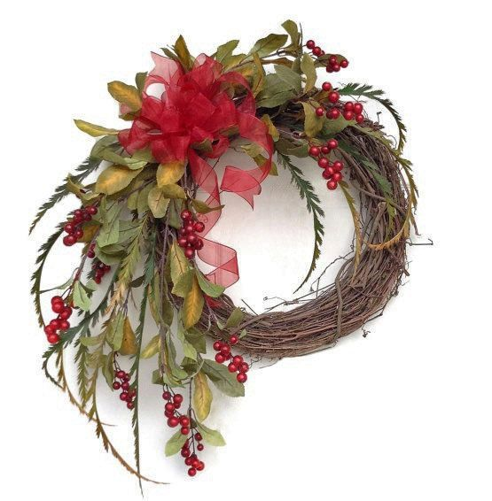 Red Berry Holiday Wreath for Door, Christmas Wreath,Winter Wreath,Front Door Wreath,Fall Wreath,Outdoor Wreath,Festive,Seasonal,Autumn Decor on Etsy, $105.00