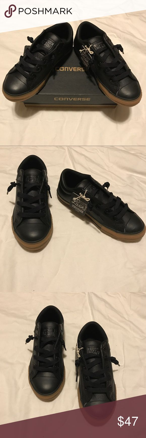 Converse slip on no time to lace sneakers Converse slip on no time to lace sneakers. Black faux Leather Converse Shoes Sneakers