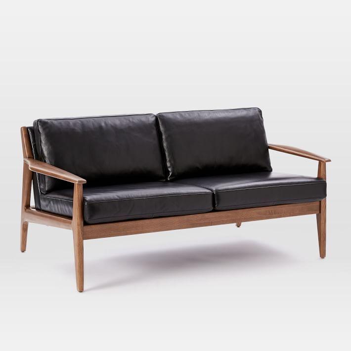 Mathias Midcentury 2-Seater Sofa, Leather, Black