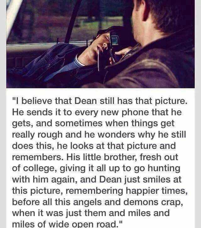 Headcanon about Dean still having the photo of Sam from the prank wars in 1x17 Hell House
