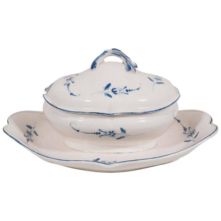Blue and White Porcelain Small Tureen | From a unique collection of antique and modern porcelain at https://www.1stdibs.com/furniture/dining-entertaining/porcelain/