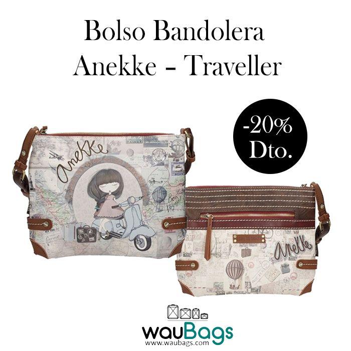 """Bolso Bandolera Anekke """"Traveller"""", con compartimento principal con cremallera, varios bolsillos interiores para llevarlo todo bien organizado y un bolsillo en la parte trasera, también con cierre de cremallera.Con correa regulable y desmontable para llevar el bolso colgado al hombro o bien en bandolera. @waubags #anekke #bolso #bandolera #traveller #muñeca #complementos #oferta #descuento #rebajas #waubags"""