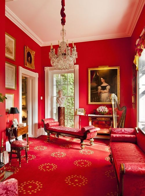 An All Red Room. Edgewater, Barrytown, New York, Classical American Homes  Preservation Trust.