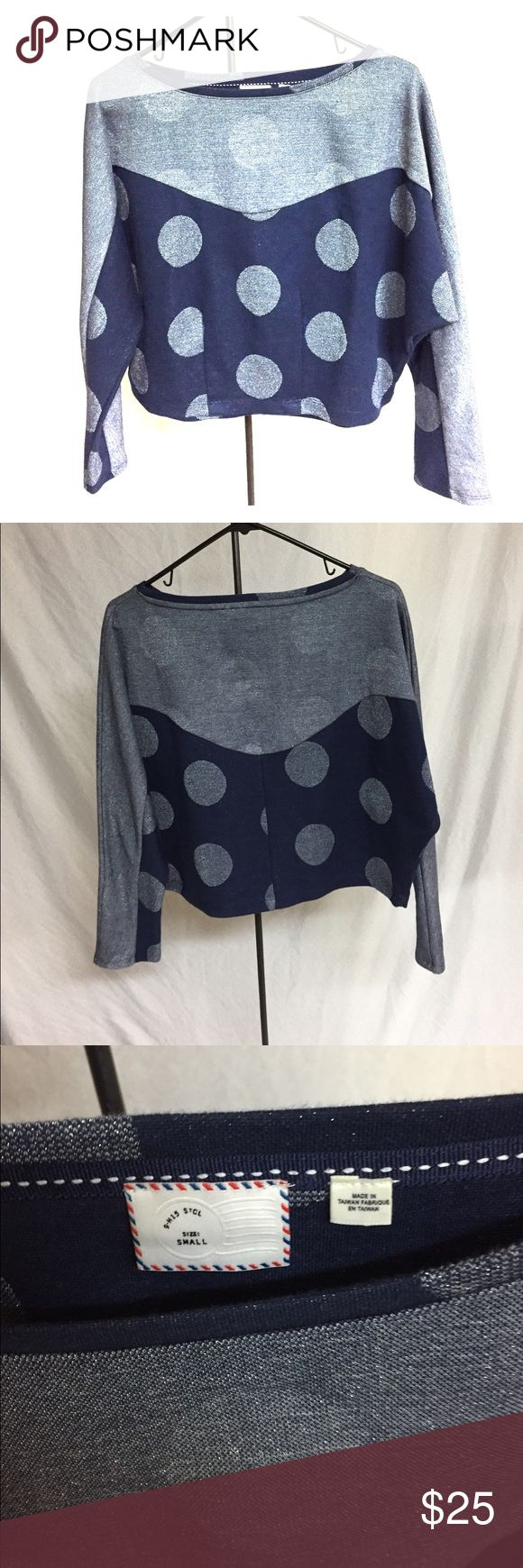 Anthropologie blue and silver crop top. So cute! Dark and light blue crop top with circle design and subtle sparkles. Looks super cute with jeans! Size small but fits a little bigger. Anthropologie Tops Crop Tops