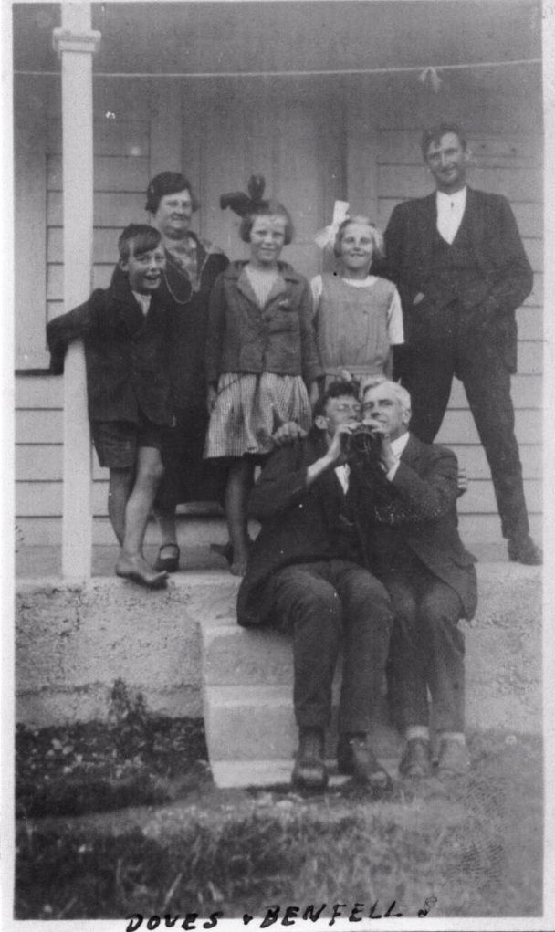 Back row: Tommy, Edie Benfell, Mary, Hazel, Bill Lietze Front row: Arthur Dove and George Benfell - ca 1930 (?)