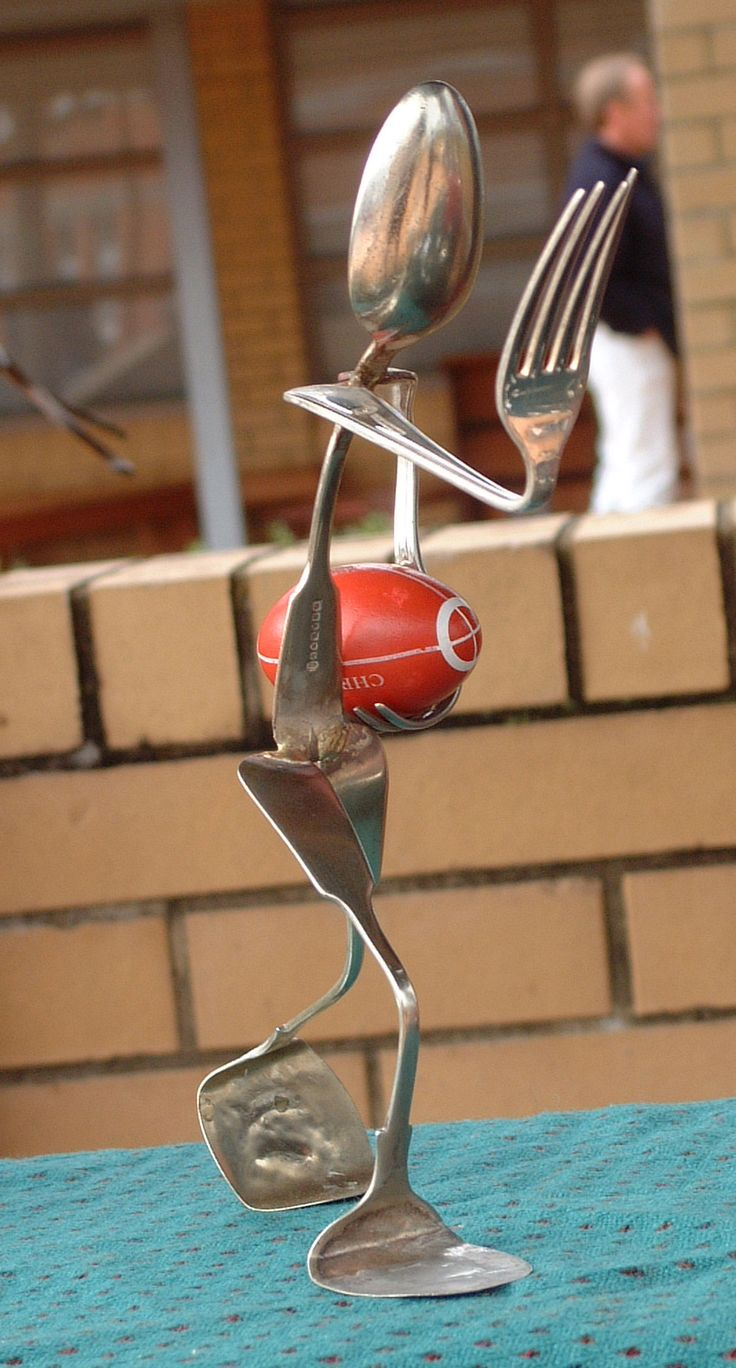 Cutlery Rugby Player. Marti Wong sculpture.