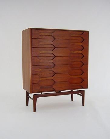 Arne Hovmand Olsen; Teak and Brass Chest of Drawers for Mogens Kold, 1950s.