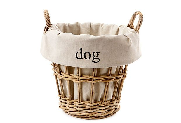 Wicker Dog Toy Tidy