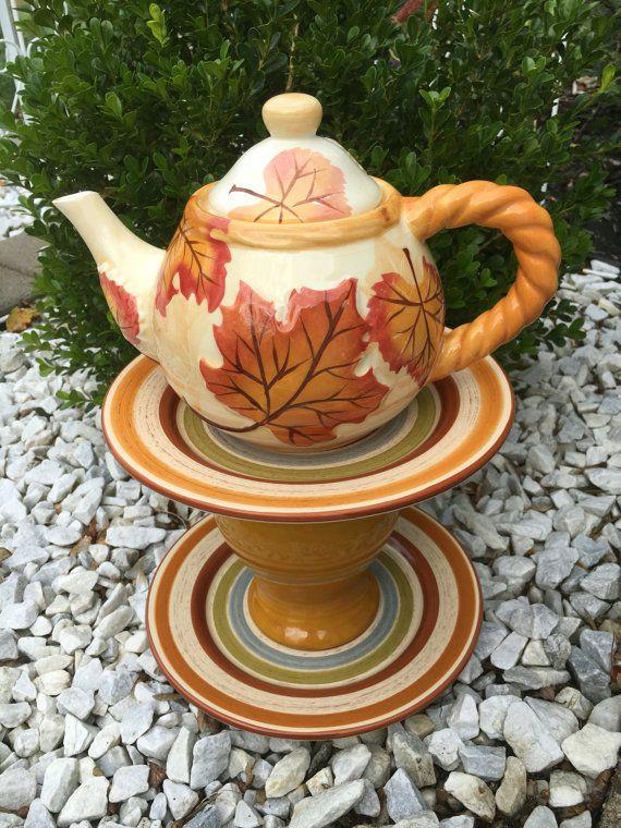 Teapot garden whimsy ceramic birdbath by BsCozyCottageCrafts