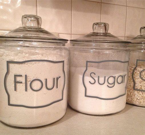 Jar Labels Custom Kitchen Spice Vinyl by ClassyClutterDesigns