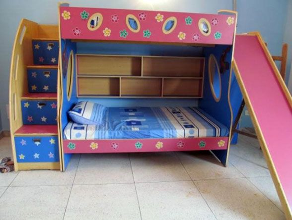 Bunk bed with stairs and slide on pinterest discover the for Bunk beds for kids with stairs