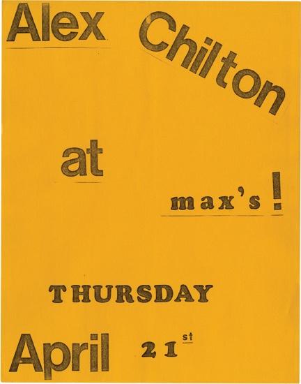 Alex Chilton at Max's Kansas City Thursday, April 21, 1977 (Original flier)