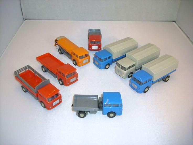 8 St DDR Modellautos SKODA LKW Tanker Pritsche Plane für H0 Bahn