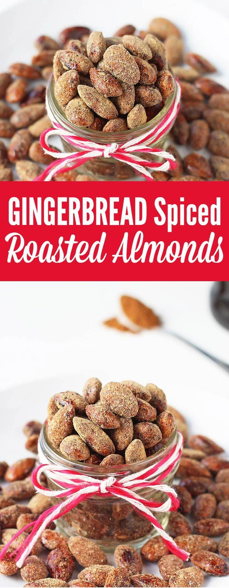 If you've ever been to German Christmas market, you know the incredible aroma of roasted almonds. This is a homemade version of sweet, crunchy roasted almonds with gingerbread spice flavor. They also make a fantastic homemade, edible gift.