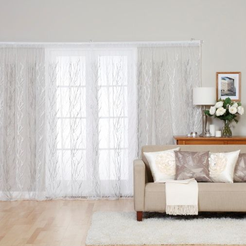 Soft elegant organza curtains with a beautiful white and silver tree branch design. Great for daytime privacy and providing sun filtering.