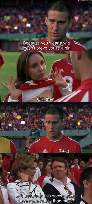 Is it just me, or does this soccer game have more nudity than most? from She's the Man starring Amanda Bynes, Channing Tatum