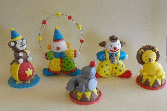 Edible Circus Clowns and Animals Cake Toppers by TheLilDetails