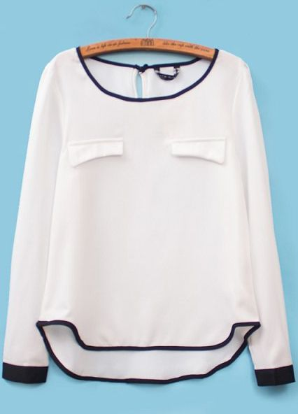 White Long Sleeve Contrast Trims Chiffon Blouse US$25.25