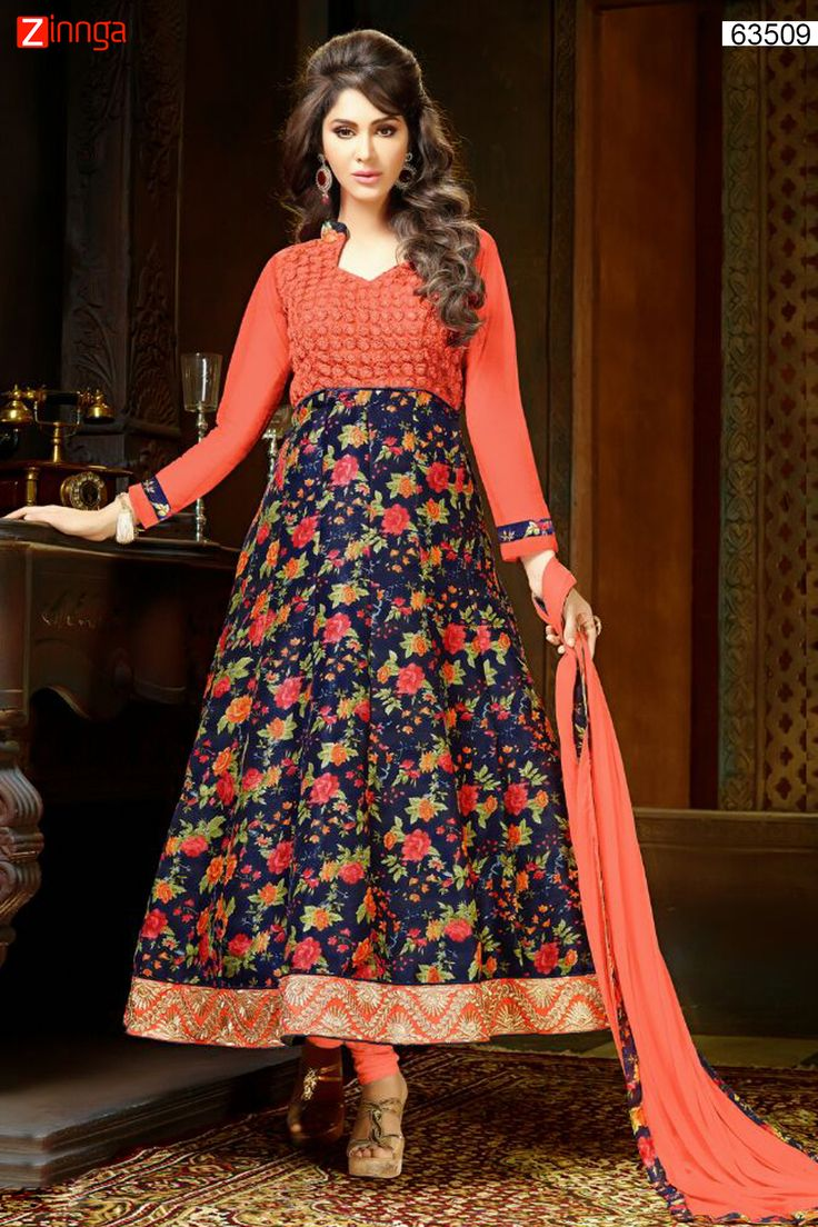 Bhagalpuri Silk & Net Anarkali Style Incredible Unstitched Salwar Kameez. Message/call/WhatsApp at +91-9246261661 or Visit www.zinnga.com