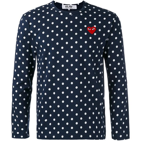 Comme Des Garçons Play polka dot T-shirt ($128) ❤ liked on Polyvore featuring men's fashion, men's clothing, men's shirts, men's t-shirts, blue, mens spotty shirt, mens polka dot t shirt, mens cotton t shirts, mens cotton shirts and mens blue shirt