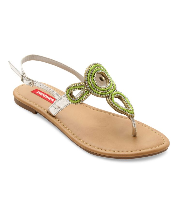 Green & Silver Allen Beaded Sandal