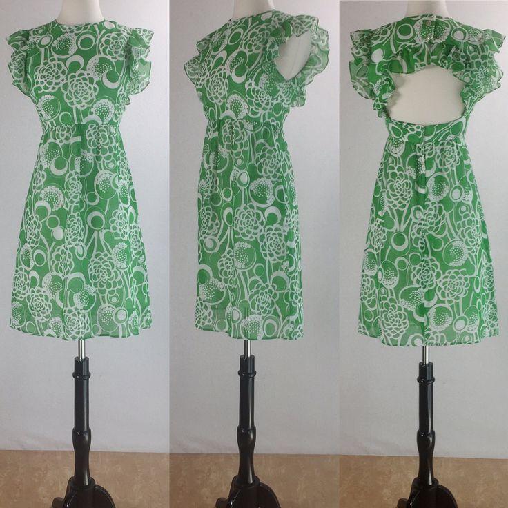 1960's Green & White Hawaiian Print Summer Sun Dress | Alamor Joan Sparks Designs | Size Extra Small/Small by VeraciousVintageCo on Etsy