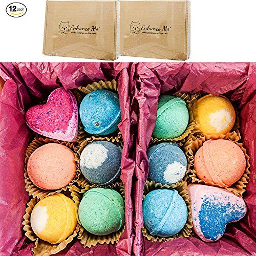 Bath Bombs Mothers Day New & Improved 2 Box Double Gift Set 12 Total Wholesale Vegan Bath Bombs Handmade in USA with Organic Coconut Oil Cruelty Free from Enhance Me