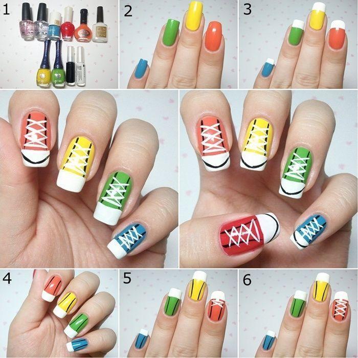 Como decorar las uñas con motivo de zapatillas teens paso a paso | Decoración de Uñas - Manicura y Nail Art