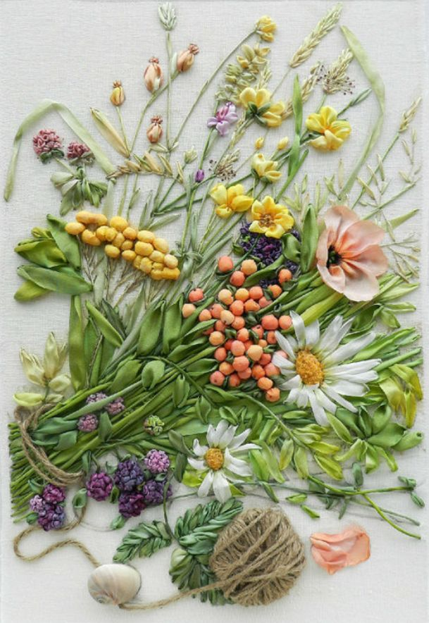 ♒ Enchanting Embroidery ♒ Wildflowers ribbon silk embroidery by StudioSilkRose on Etsy