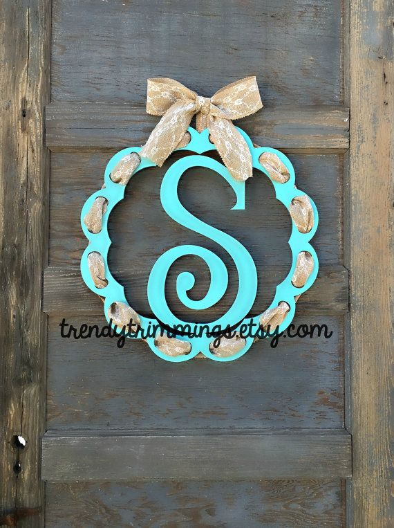 Trim It Monogram Door Hanger Wreath Wooden Monogram