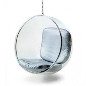 Eero Aarnio Hanging Ball Bubble Chair - Silver Cushion