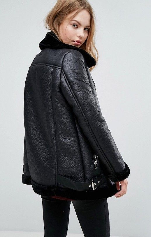 You Won't Believe This Black Shearling Aviator Jacket Is Under $100