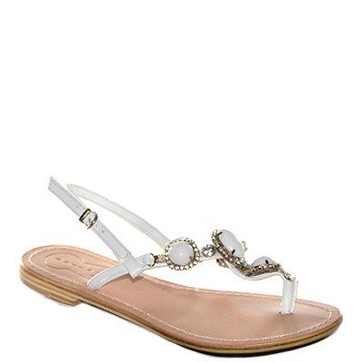 #Sandalo basso in cuio di #Suite159 realizzato in pelel bianca con pietre in tinta decorative  http://www.tentazioneshop.it/scarpe-suite-159/sandalo-s14249-bianco-suite-159.html