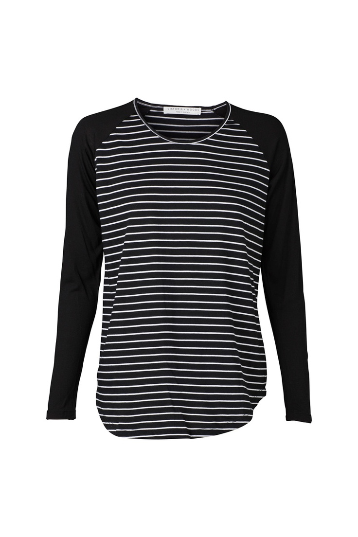 Hale Raglan Top. 100% Cotton. Black and white stripe with black sleeves. Perfect for winter layering. To shop: https://shop.marvaldesigns.com.au/hale-raglan/dp/9299