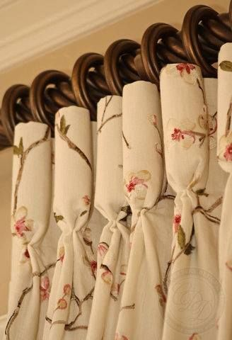 Детали  feminine floral embroidery on ivory goblet pleated drapery panels