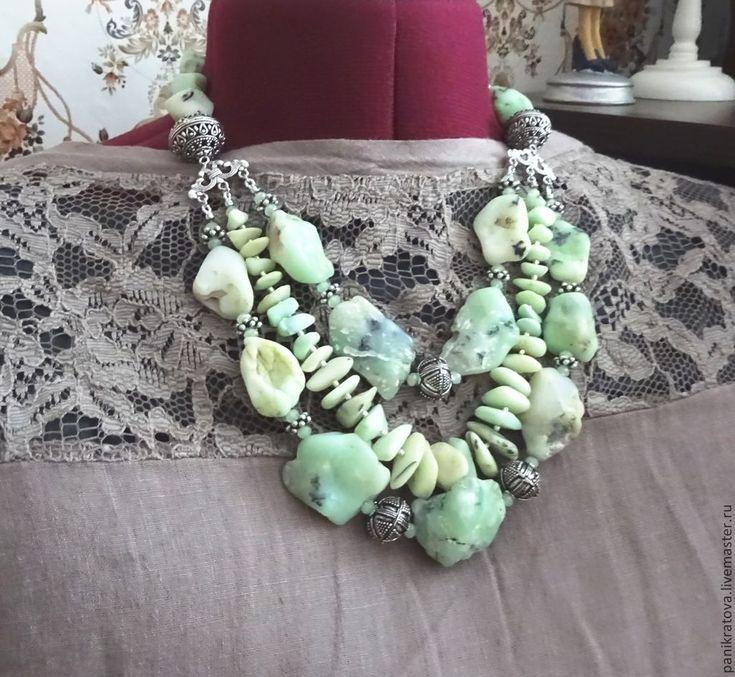 """Купить Колье """"Водоворот"""" (хризопал, серебро) - мятный, светло-зеленый, хризопал, редкий камень"""