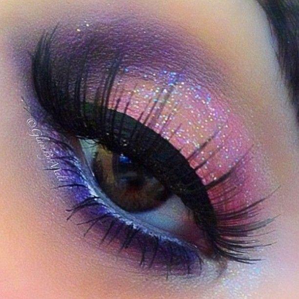 Pink glitter eye makeup-8599