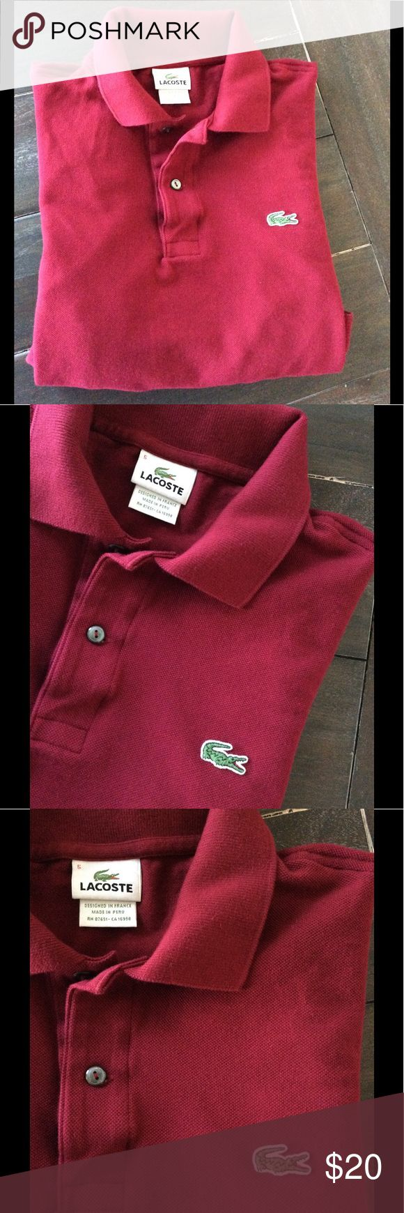 Lacoste Polo Shirt size 5 Authentic Lacoste polo shirt. In great condition, can pass as new! Designed in France and made in Peru. Great material. Look stylish while relaxing 😎. Bundle for extra discount! Color: Raspberry Sorbet Lacoste Shirts Polos