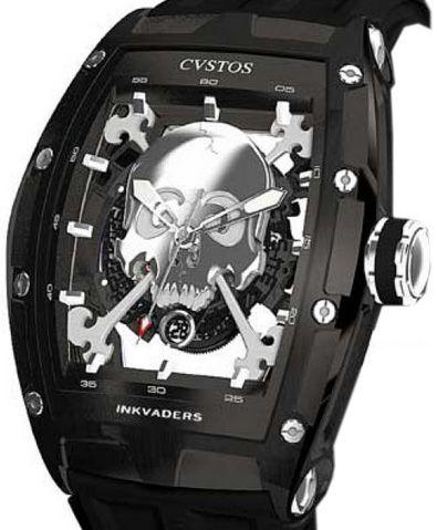 Challenge Jet-Liner Inkvaders Skull Steel швейцарские часы Cvstos - мужские часы наручные, черные часы