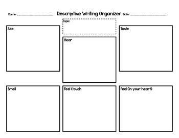 descriptive writing organizer 5 senses perfectly practical teacher 39 s pay teachers writing. Black Bedroom Furniture Sets. Home Design Ideas