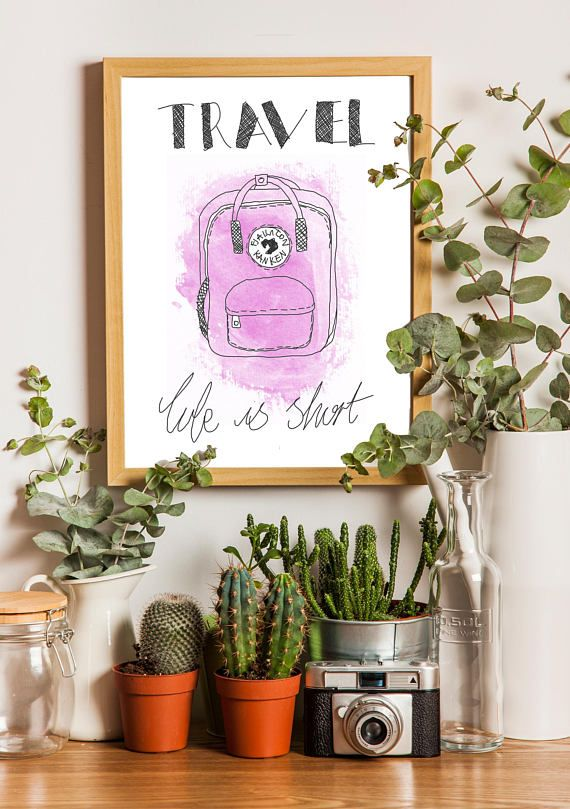 Minimalist 'Travel You Only Live Once' Pink Print