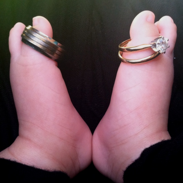 A V For Love! Wedding Rings On Newborns Feet Baby Feet